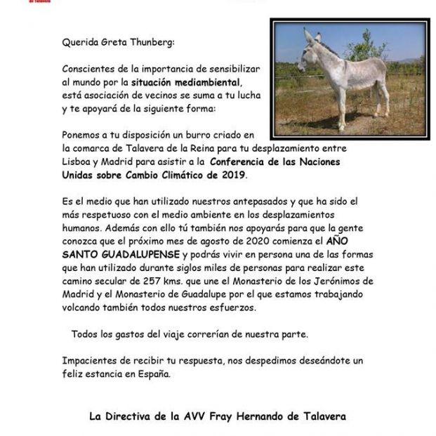 Carta a Greta Thunberg de la Asociación de vecinos Fray Hernando de Talavera de la Reina