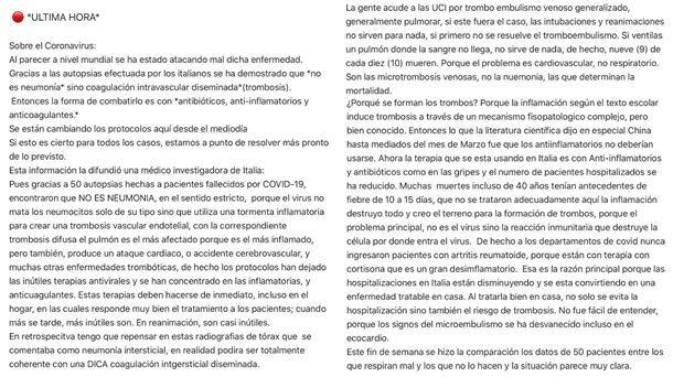 Bulo sobre la trombosis y el coronavirus
